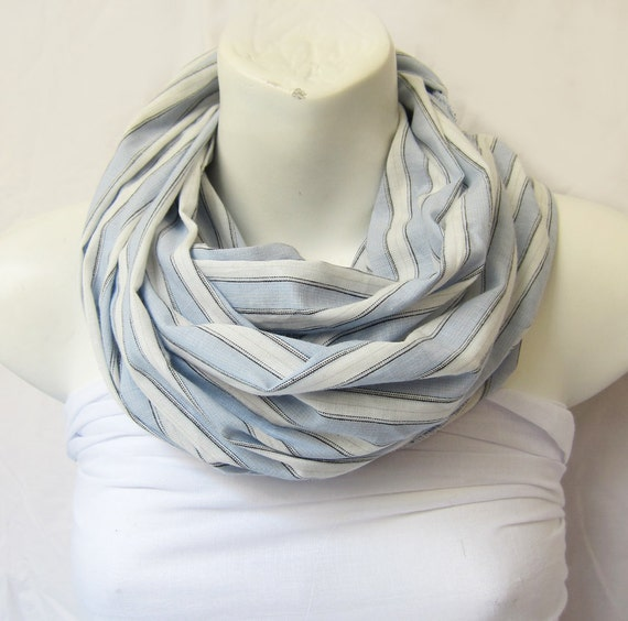 Cotton Scarf in  Blue Gray and White.. Stripes Scarf Extra Large..Geometric Scarf