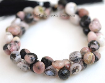 Peach Pink and Black Rhodochrosite Faceted Top Drilled Onion Shape Briolette 10mm -1/2 Strand