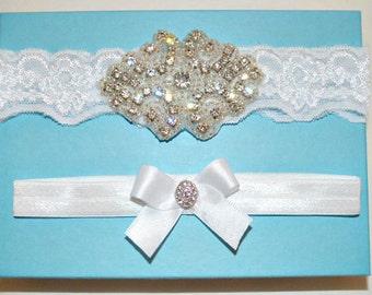 White Wedding Garter Set, White Stretch Lace Bridal Garter Set, Heirloom Rhinestone Garters, Satin Bow Garter - Ready To Ship