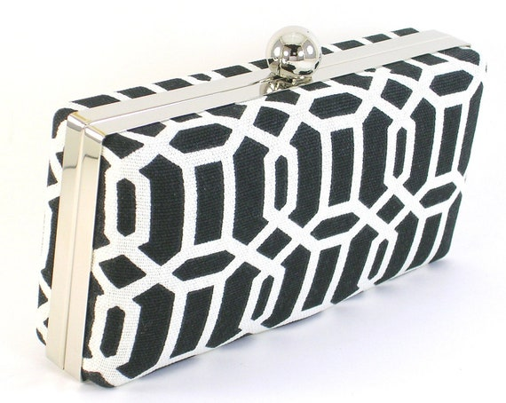 Modern Clamshell Bridesmaid Clutch - Black and White - Bridal Party Gift
