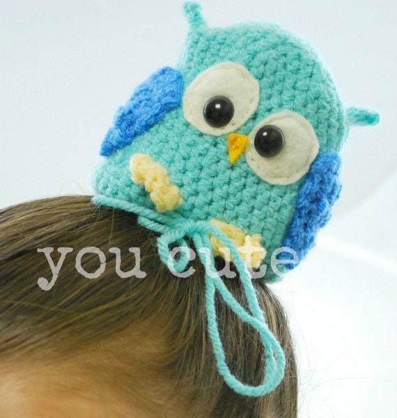 blue owl hair bun cover