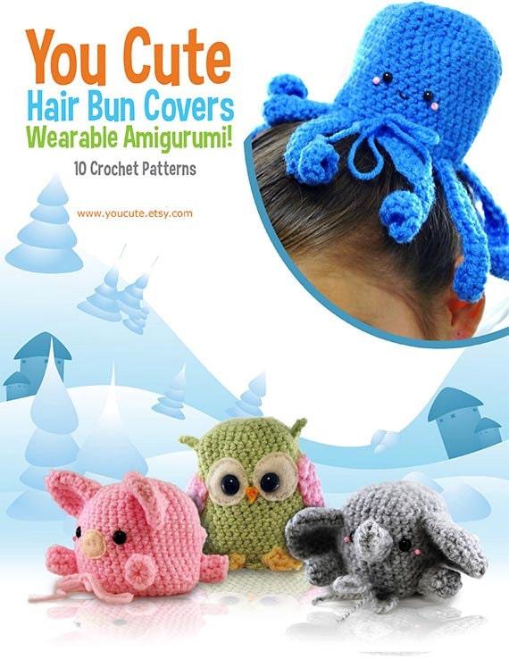 Amigurumi Hair Patterns : CROCHET PATTERN Amigurumi Hair Bun Cover Pattern eBook