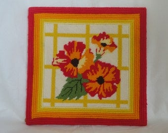 Mid Century Needlepoint - Floral Red Orange Yellow 70's