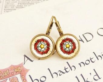 Tudor Rose - Vintage Earrings
