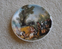 Vintage Johnson Ceramics miniature porcelain plate - Workers in field - Harvest - England