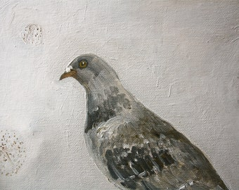 Pigeon and seed heads  painting