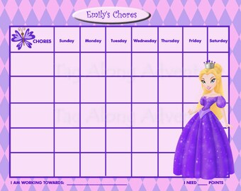 PRINTABLE Personalized Kids Chore Chart - Princess - Purple PRINCESS - Other Princesses Available - Printable Jpeg or PDF