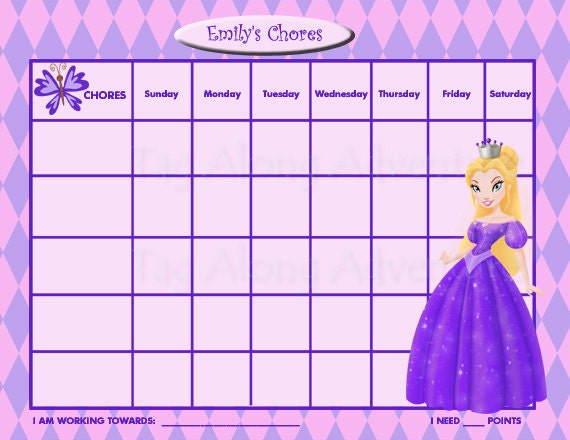 PRINTABLE Personalized Kids Chore Chart - Princess - Purple PRINCESS ...