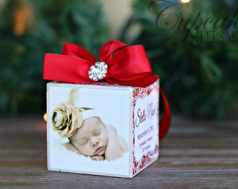 No.21 Christmas Rhinestone Baby Girl Custom Photo Block Ornament