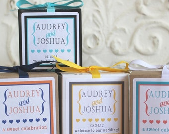 12 Wedding Favor Boxes - ANY COLOR - Audrey Design - wedding favors, bridal shower favors, rehearsal dinner favors