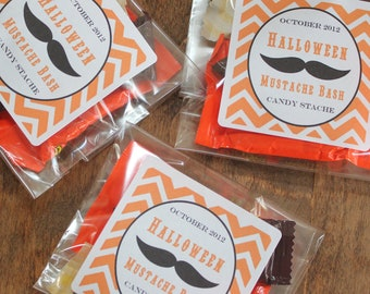 24 Personalized Halloween Treat Bags- Mustache Design - halloween favor bags, halloween party favors, mustache halloween favors
