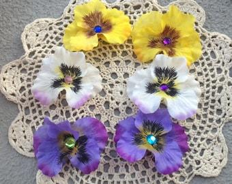 Pansy Flower Hair Clip