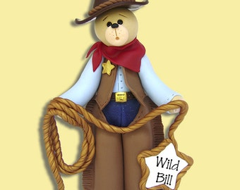 Belly Bear Cowboy HANDMADE Polymer Clay Personalized Christmas Ornament