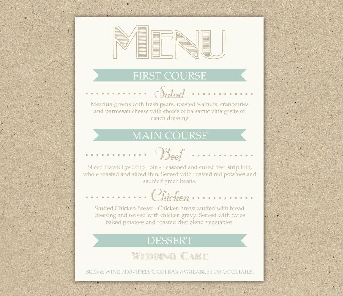 wedding menu dinner custom printable template by westandpine. Black Bedroom Furniture Sets. Home Design Ideas