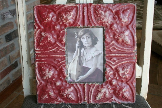 Genuine Antique Ceiling Tin Picture Frame --  4 x 6 --- Maroon Colored Paint