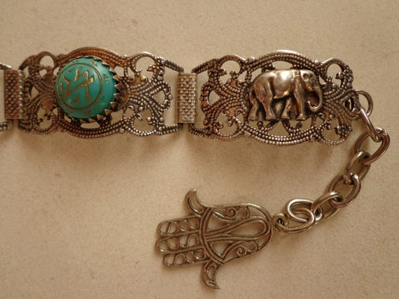 Vintage Egyptian Revival Link  Souvenir Bracelet, Silver Tone with Elephant,Dagger, Hamsa and Turquoise Glass Cabochons with gilt Pattern