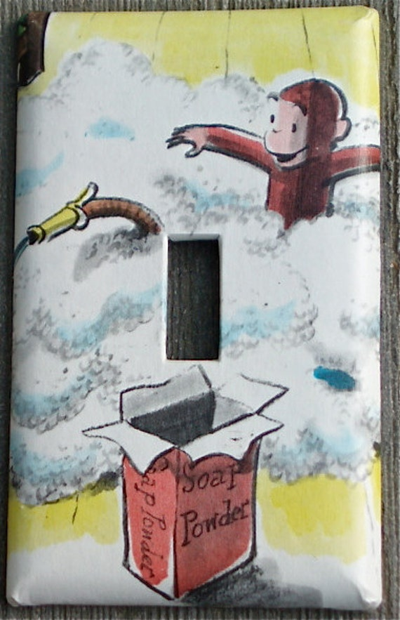 Curious George Light Switch Plate / recycled / upcycled / easy to clean