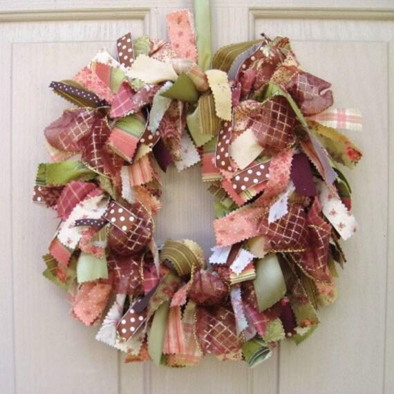Ribbon Wreath, Fabric Wreath, Penelope Moda Classic Fabric and Ribbon Front Door Wreath, Rose Burgundy Green Rag Wreath
