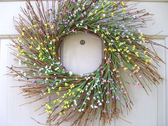 Spring Wreath, Berry Wreath, Easter Wreath, Yellow Pink Lavender Pip Berry Twig Wreath, Baby or Bridal Shower Decor