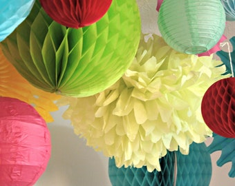 Birthday party decorations ...12 Tissue paper poms .. choose your color // weddings // reception // baby shower // nursery decor // lantern