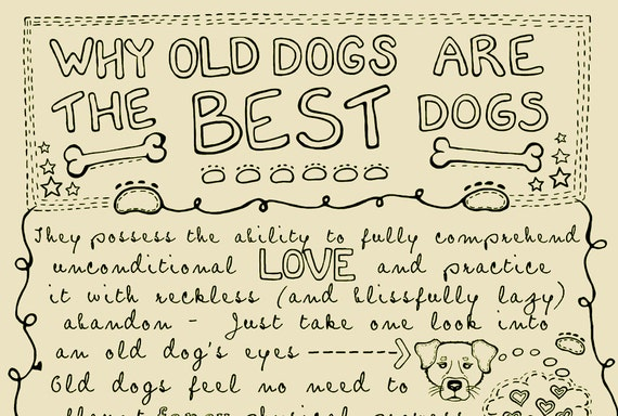 Why Old Dogs Are The Best Dogs - 8x10 ART PRINT - Beige Dog Art Print - Gift for Dog Lovers