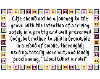 Wow, What a Ride Inspirational Cross Stitch Chart