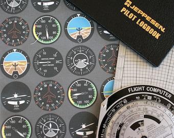 Flight Deck Airplane Instruments Fat Quarter Fabric