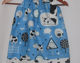 Pillowcase dress - Cow spots farm girl - sizes 12 Months to 10 Years
