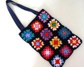 granny crochet bag, granny square, multi coloured, rainbow, tote, shopper bag.