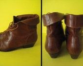 Bottines en cuir vintage à lacets // Vintage leather lace-up low boots