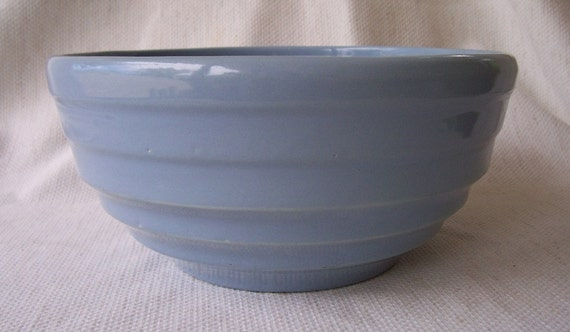 Vintage light country blue  heavy mixing, serving bowl