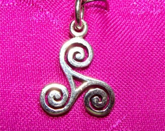 Celtic TRISKLE Good Tidings Charm or Pendant in STERLING Silver