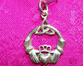 Irish Celtic CLADDAGH Charm or Pendant of FRIENDSHIP in STERLING Silver