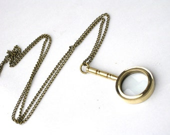 Steampunk - DETECTIVE MAGNIFYING GLASS Necklace Pendant - Time For Adventure -  Really Works - GlazedBlackCherry