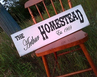 Custom Homestead handpainted wooden sign by Dressing Room No. 5