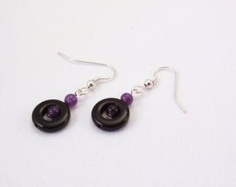 Black and Purple Dangle Earrings