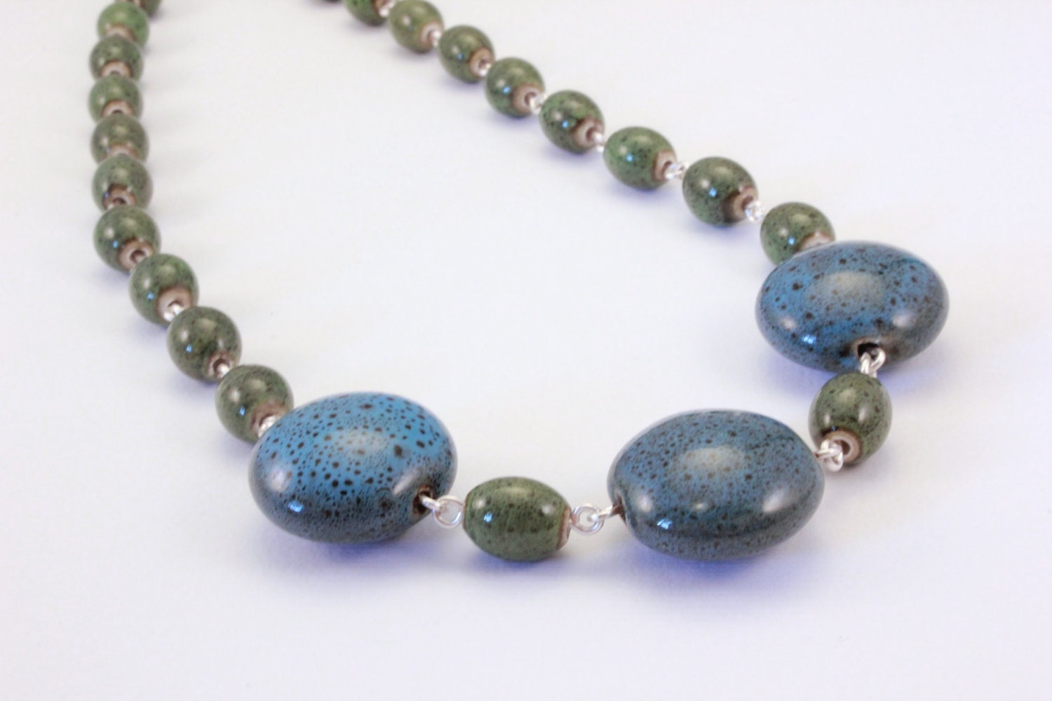 blue and green ceramic beaded necklace