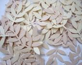 50 Cream Ivory Frond Fern Leaf punch die cut cutout confetti scrapbooking embellishments - No868