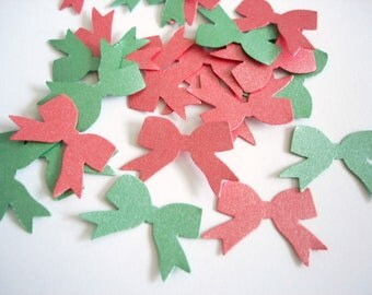 100 Pearlescent Re-Entry Red Gamma Green Ribbon Bow punch die cut confetti embellishments - No744