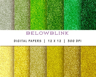 Yellow and Green Glitter Digital Paper Pack, Scrapbook Papers, 12 jpg files 12 x 12 - Instant Download - DP173