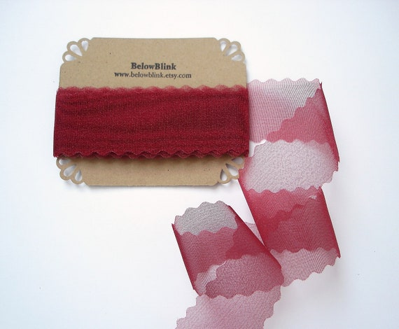 Burgundy Sheer Fabric Ribbon Trim, Scrapbooking, Gift Wrap  - 2 yards - R3
