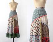 1970s Maxi Skirt // Sweeping Patchwork // Waist 24