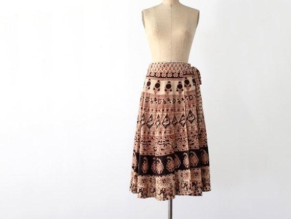 1970s Wrap Skirt // Bohemian Print Skirt