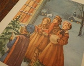 XL Village Carolers Snow scene, Vintage  Season's Greetings, 1950s card, like an art print, can frame, Nostalgia  French fold,  MANY in shop