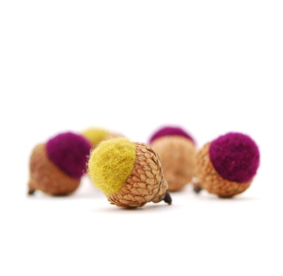 Felted Acorns, plum chartreuse autumn fall thanksgiving nature woodland decor ecofriendly