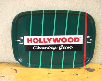 French Vintage HOLLYWOOD chewing gum advertising  tin  tray Collector