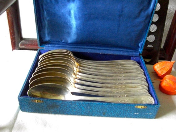SALE .Dated 1900 Antique  French  LOUIS XV silver plate  soup spoons set of 12 Flatware