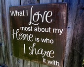 "15 ""x 15"" Wooden Sign - What I LOVE most about my HOME is who I SHARE it with"