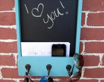 "11"" x 15.25"" x 2"" Wooden Mail Holder, Keyhook, & Chalkboard"