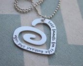 Aluminum Hand Stamped Swirly Heart Pendant with chain